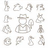 picture of animal silhouette  - farm animals linear icons set thin lines silhouettes of animals heads - JPG