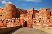 stock photo of mughal  - Tourists at entrance to Agra Fort - JPG
