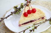 pic of bonaparte  - Napoleon cake with cherries on a plate - JPG