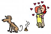 picture of poo  - Illustrative representation of Dog Poo and Love Birds  - JPG