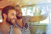 stock photo of road trip  - Hipster friends on road trip on a summers day - JPG