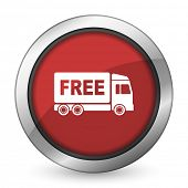 stock photo of free-trade  - free delivery red icon transport sign  - JPG