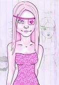 Bright Pink Eye Patch Girl