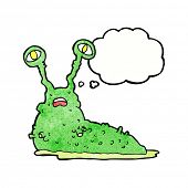 stock photo of grossed out  - cartoon gross slug with thought bubble - JPG