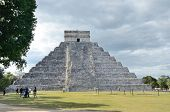 stock photo of mayan  - Ancient Mayan pyramid Kukulcan temple in Chichen Itza Mexico - JPG