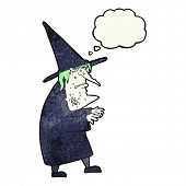 stock photo of ugly  - cartoon ugly old witch with thought bubble - JPG