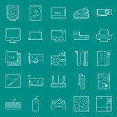 pic of peripherals  - Computer components and peripherals thin lines icons set graphic illustration design - JPG