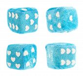 picture of dice  - Plush blue toy dice with hearts as a dots isolated over white background - JPG