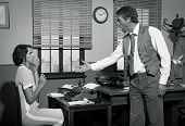 foto of 1950s  - Furious director arguing with young secretary 1950s vintage office - JPG