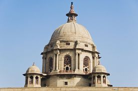 stock photo of rashtrapati  - High section view of a government building - JPG