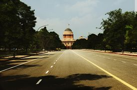 stock photo of rashtrapati  - Road leading towards a government building - JPG