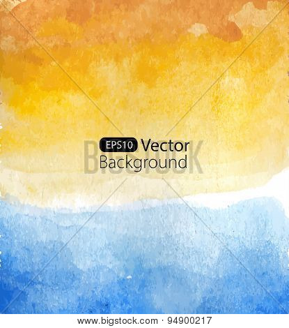 Vector background of watercolor seascape