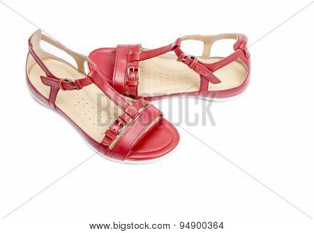 Red Sandals Isolated on White