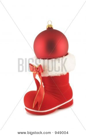 Santa'S Boot With Christmas Bauble