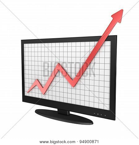Computer Monitor With Business Chart