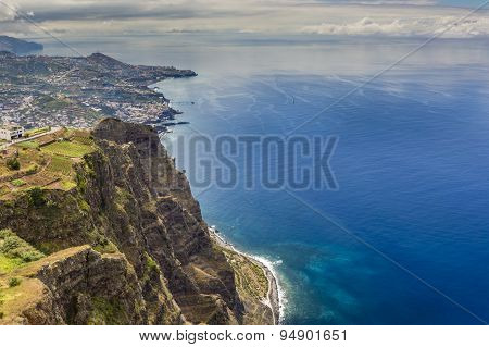 600 Meter High Cliffs Of Gabo Girao At Madeira Island, Portugal