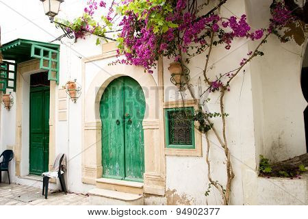 Street With Wooden Doors And Bush With Flowers In Mahdia. Tunisia. Africa.