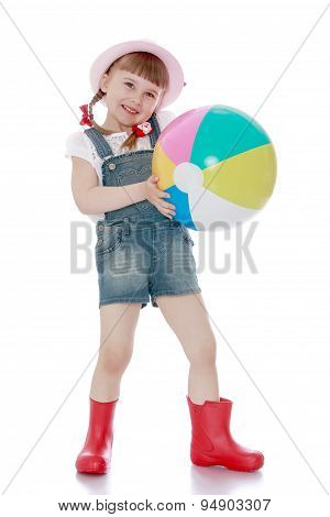 Blonde little girl with a short