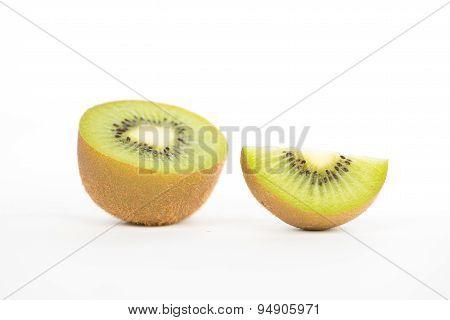 Sliced And Cut Kiwi Fruit On White