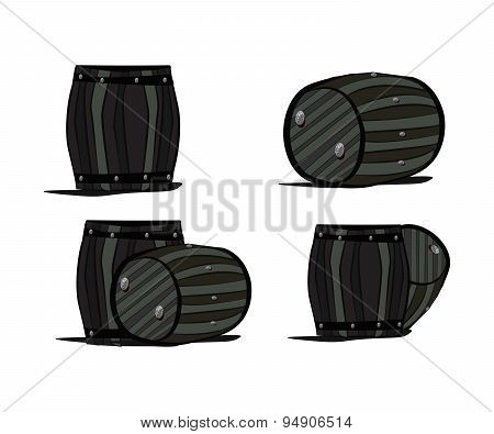 Set beer barrels engraving cartoon