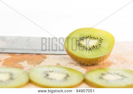 Closed Up Sliced Kiwi Fruit On White