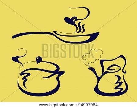 the pan, the kettle and the pot