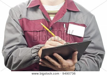 Service Man With Clipboard