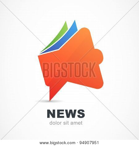 Abstract Red Megaphone Icon. Vector Logo Design Template.