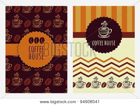 Set Of Vector Background Template. Seamless Pattern With Coffee Beans And Cup.