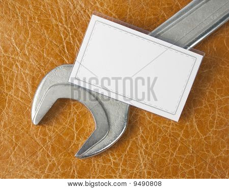 Wrench And Blank Business Card