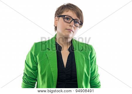 Portrait of serious pudgy woman with glasses