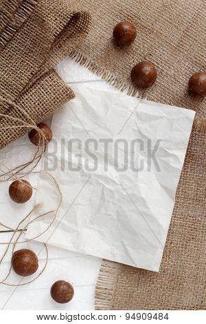 Blank Paper On Burlap