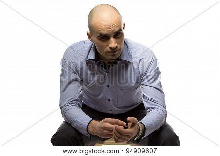 Photo hairless businessman looking at camera