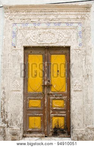 Locked Wooden Front Door Of The Old House With Big Lock In Mahdia, Tunisia