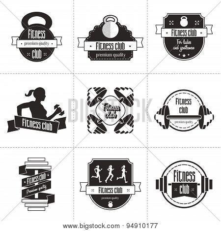 Vector set of sports and fitness club logo, athletic labels and badges templates.