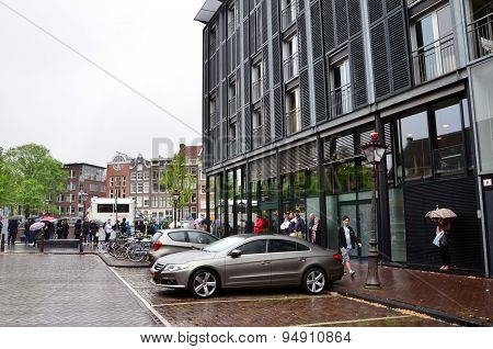 Amsterdam, Netherlands - May 16, 2015: Tourists Stand In A Queue To Anne Frank House Museum
