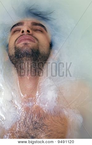 Young Sexual Tanned Naked Guy In Bath