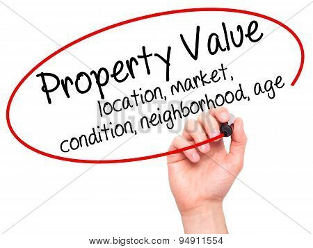 Man Hand writing Property Value - location, market, condition, neighborhood, age with black marker o