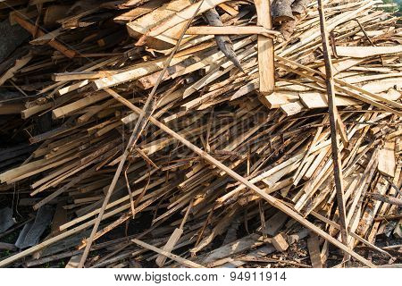 Pile Of Raw Planks Of Coniferous Wood