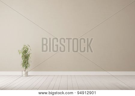 Oleander plant standing in front of wall in an empty room on the floor (3D Rendering)