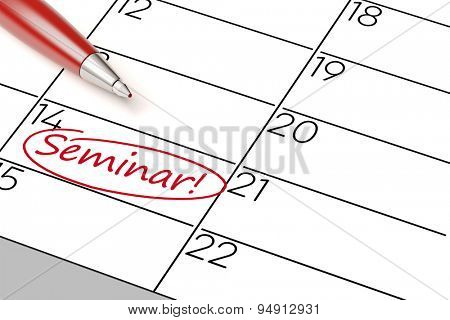 Importent seminar marked with pen as an appointment in a calender (3D Rendering)