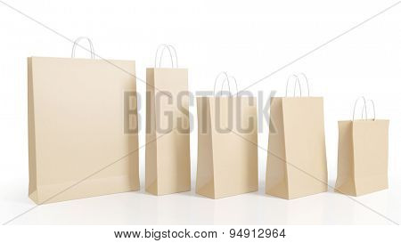 Five different paper shopping bags in a row isolated on white (3D Rendering)