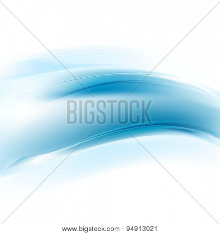 Graphic abstract illustration with blue waves for corporate design. Vector card background