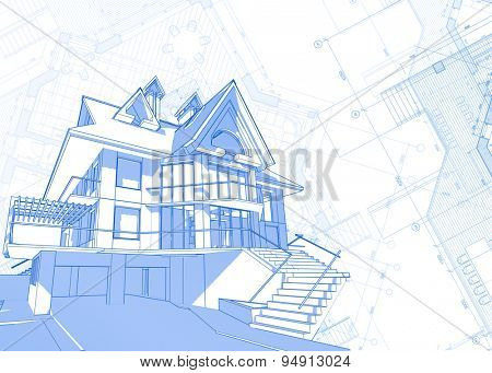 Architecture design: blueprint - house  & plans illustration