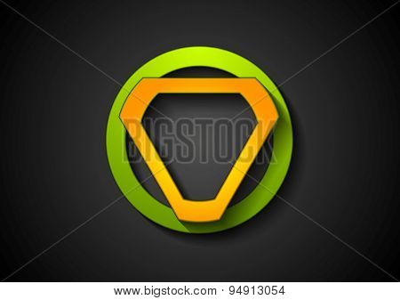 Abstract green orange geometric logo design. Vector background