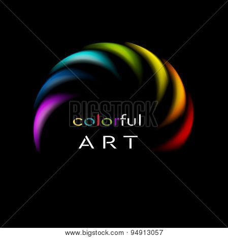 Colorful rainbow abstract logo on black background. Vector art design