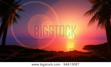 3D render of a tropical island with sun rays