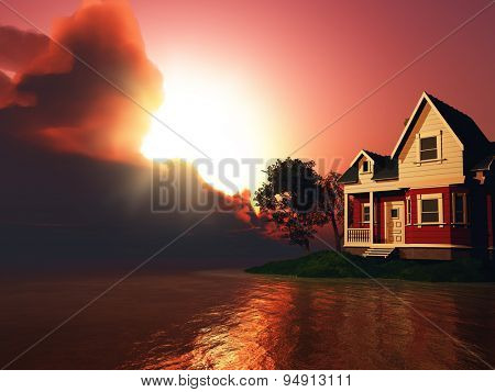 3D render of a house by a lake against a dramatic sunset sky