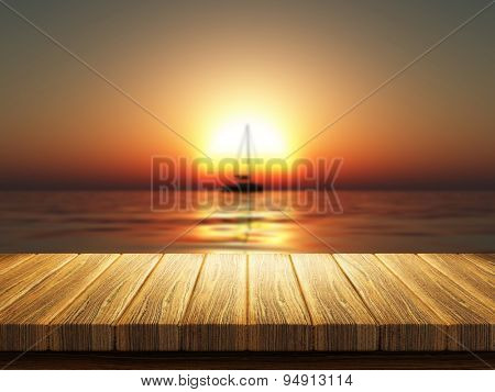 3D render of a wooden table with a defocussed image of a yacht on a sunset ocean
