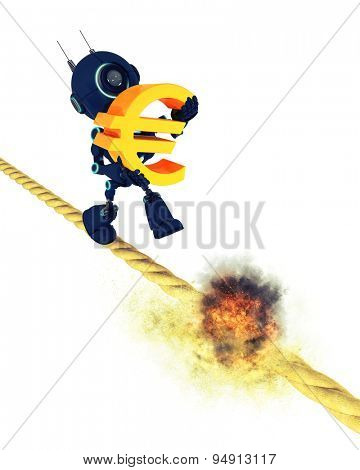 3D Render of an Android holding the Euro symbol walking on a burning tight rope